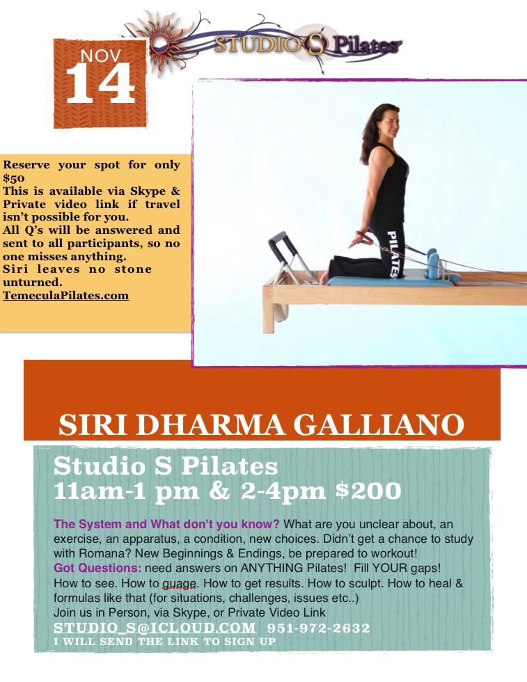 upcoming workshop at Studio S Pilates